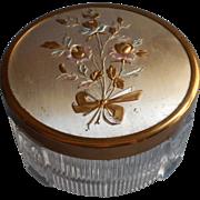 Vanity Jar Vintage Roses Motif Lid Metal Glass 1950s