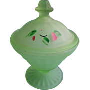 1920s 30s Satin Glass Vanity Jar Vintage Powder Green