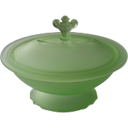 1920s Vanity Satin Glass Powder Dish Lid Green Tassaunt Glass Vintage