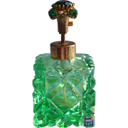 Vintage Cut Glass Perfume Bottle Green Jeweled Top