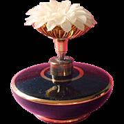 Vintage Perfume Bottle Black Glass Plastic Flower Chrysanthemum