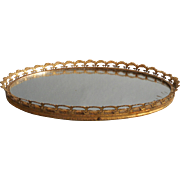 Vintage Perfume Tray Ornate Ormolu Filigree Metal Mirror Velvet Backing