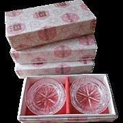 Bohemian Cut Glass Vintage Ashtray Sets Butter Salt Dishes Original Boxes