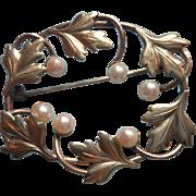 Cultured Pearls Gold Filled Vintage Pin Signed Carl Art Edwardian Revival