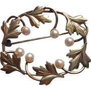 Cultured Pearls Gold Filled Vintage Pin Signed Carl Art Edwardian Revival