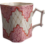 Antique Pink White Coral Gold Hand Painted China Cup Mug