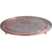 Vintage Stand Plateau Plate Stand Pink Depression  Glass TLC