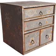 1930s Wallpaper Covered Sewing Box Drawers Cardboard Shabby Sweet