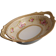 1920s Hand Painted Pink Roses Gold Noritake China Serving Bowl