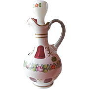 Czech Bohemian Cased Overlay Cranberry Cruet Vintage Hand Painted Flowers