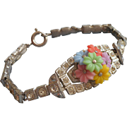 1930s Vintage Rhinestone Bracelet Plastic Flowers Repaired