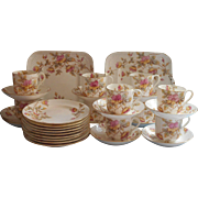 Victorian Dessert Service China Set Tea Cups Saucers Plates Antique  Hand Painted Pink Aqua Yellow