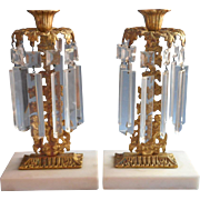 Victorian Cherubs Girandoles Pair Antique Gilt Marble Prisms Candlesticks