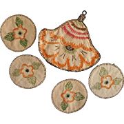 1920s Hand Embroidered Coasters In Flower Shape Slip Case Caddy Vintage Unused