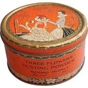 1920s Tin Hudnut Dusting Powder Three Flowers Filled Unused Cosmetic