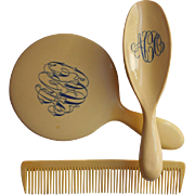 1910s Celluloid Set Brush Comb Mirror Monogram A O C Antique Vanity