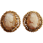 Vintage Earrings Shell Cameo Clip Ornate Filigree