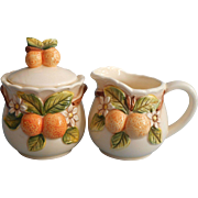 Vintage Takahashi Oranges Figural Creamer Sugar Pottery Japan Hand Painted