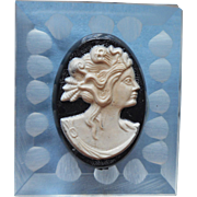 Vintage Lucite Plastic Cameo Pin Clear Black White