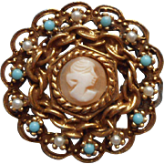 Goldette Shell Cameo Vintage Pin Brooch Victorian Revival Faux Turquoise Faux Seed Pearls