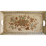 Vintag Long Tole Tray Hand Painted Cream Gold Grapes Leaves