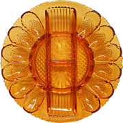 Vintage Amber Glass Deviled Egg And Celery Plate Dish L.E. Smith