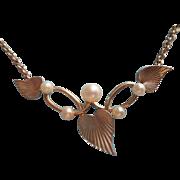 Vintage Cultured Pearl Gold Filled Necklace Krementz Dainty Leaves