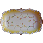 Big Antique China Serving Bowl Rectangular Yellow White Gold Carlsbad