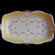 Big Antique China Serving Bowl Rectangular Yellow White Gold Carlsbad