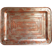 Copper Tray Vintage Large 19 x 14 Heavy Worn Silver Remains