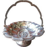 1840s Basket Antique Silver Plated Fruit Pedestal Beaded Rim