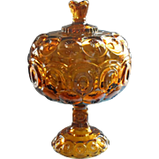 Moon And Star Amber Glass Big Compote Lid L.E.Smith Vintage Pedestal