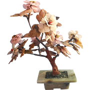Soapstone Rose Quartz Carnelian Peony Tree Sculpture Vintage Chinese