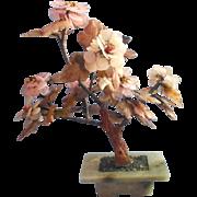 Soapstone Rose Quartz Carnelian Peony Tree Sculpture Vintage Chinese