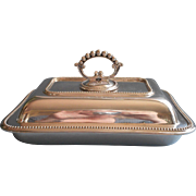 Antique English Silver Plated Harrison Bothers and Howson Serving Dish Removable Handle Convertible