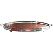 Edwardian Tray Wood Silver Plated Gallery Rim Serving Antique