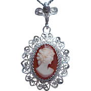 900 Silver Filigree Shell Cameo Pendant Necklace Vintage