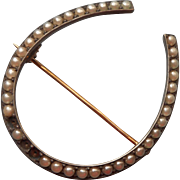 Antique Horseshoe Pin Glass Faux Seed Pearls Needs Repair
