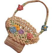 1920s Party Favor Crocheted Basket Of Flowers Table Decoration