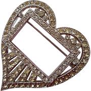 Vintage Heart Shaped Pin Rhinestones 1930s 1940s TLC