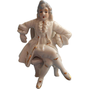 Vintage Japan Figurine Small China 18th Century Dress Gentleman Seated On Chair