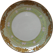Antique China Plate Enameled Roses Hand Painted Pink Green Gold