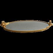 Swans Vintage Vanity Tray Ornate Metal Mirror Glass Perfume Tray