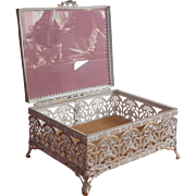Vintage Filigree Jewlery Casket Box Whitewashed Gold Color Metal Glass