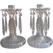 Vintage Glass Candlesticks Pair Hung With Prisms