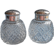 Antique Cut Glass Shakers Silver Plated Collars Lids