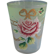 Antique Enameled Glass Tumbler Pink Roses Bows Gold Green