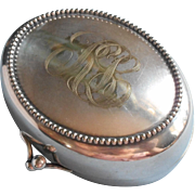 Monogram R L Antique Soap Box Silver Plated