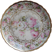 Roses Lilacs Antique China Plate Germany Pink Gold Loaded With Roses