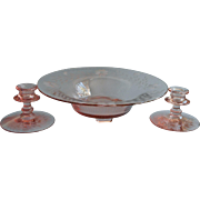 Pink Glass Console Set Candlesticks Centerpiece Bowl Vintage Floral Wheel Cut